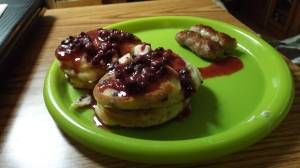 Fine Breakfast for a Cold Morning, Wild Blueberry Pancakes, Christmas, MI, Mile 5721