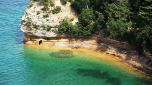 Pictured Rocks with Clear Superior Water