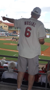 We Sat on the Cardinals Side (Full Shade) And Look at All the Old Players.  Here's Stan the Man.