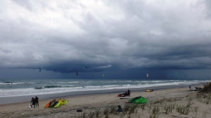 Eleven Kites Aloft and a Bad Storm Movin' In