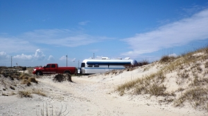 The Red Sled and Kat's Cradle in Our Oregon Inlet Campsite