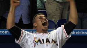 Jose Fernandez Enjoying a Teammate's Home Run
