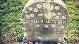 Tombstone of Susan B. Anthony, Suffragist with I Voted Buttons